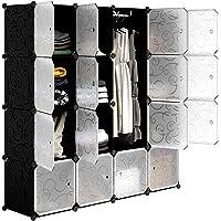 LANGRIA Garde-Robe Armoire Portable avec 16 Cubes DIY, Penderie avec Portes, Tige Suspendue, Construction Solide pour…