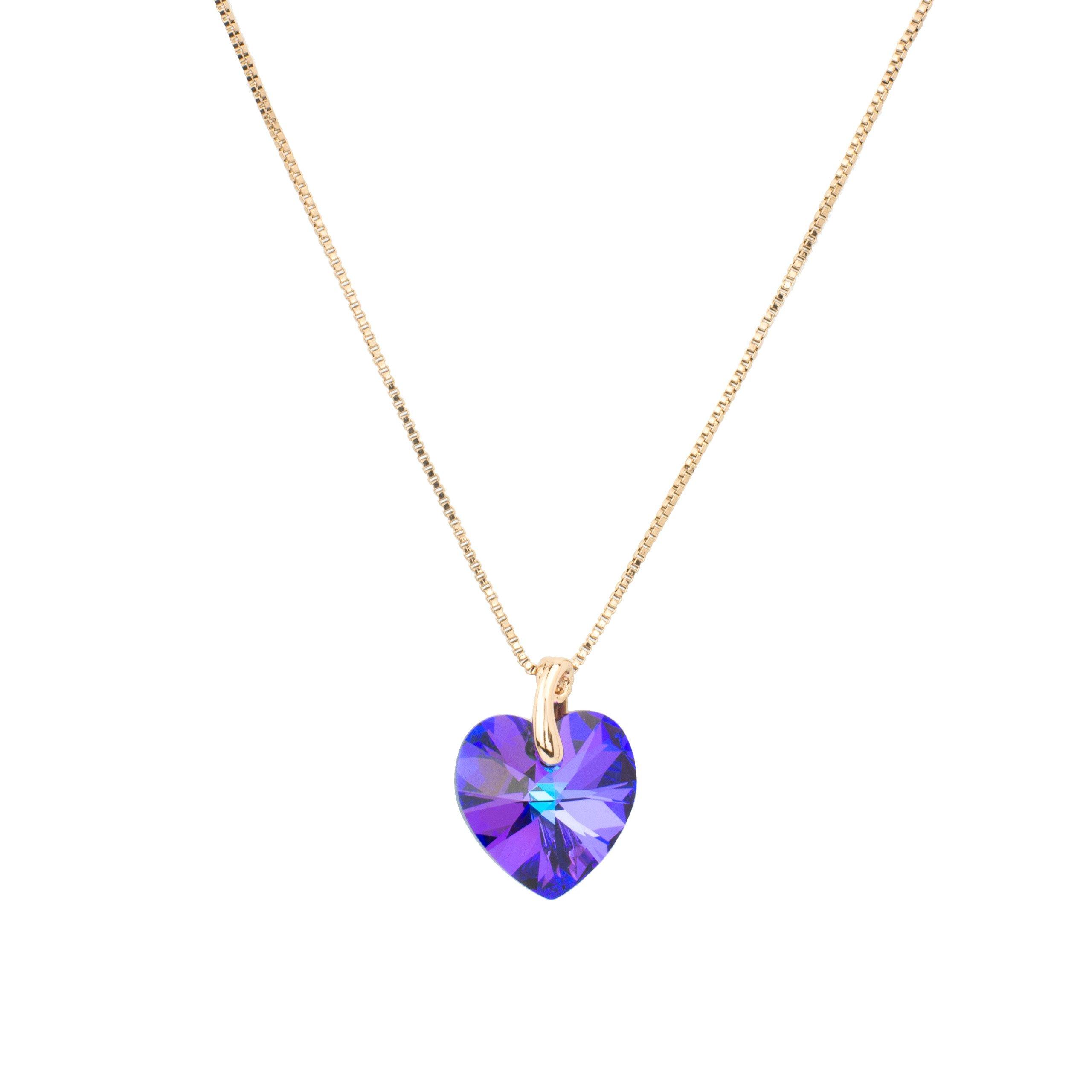 Eve S jewelry���Collana da donna con ciondolo Swarovski Elements Crystal���ELIOTROPIO placcato oro,