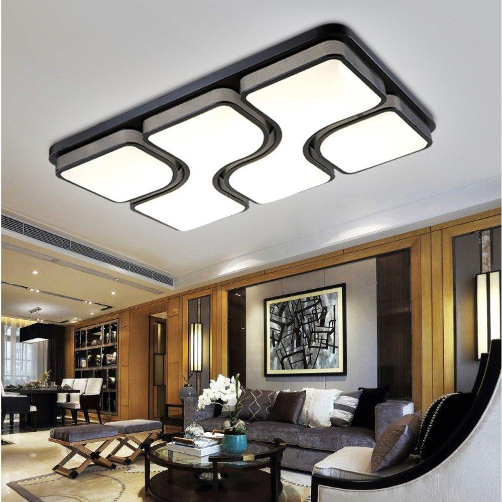 LED Die Deckenleuchte Wohnzimmer Lampe Rechteckig Schlafzimmer Studie Schmiedeeisen Beleuchtung 780520LED54W Two Tone Light Amazonde Kche