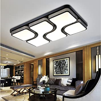 LED Die Deckenleuchte Wohnzimmer Lampe Rechteckig Schlafzimmer Studie Schmiedeeisen Beleuchtung 650450LED48W