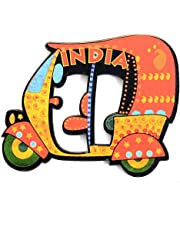 SkyWalker Delhi Wooden Auto Rickshaw Fridge Magnet (Multicolour)