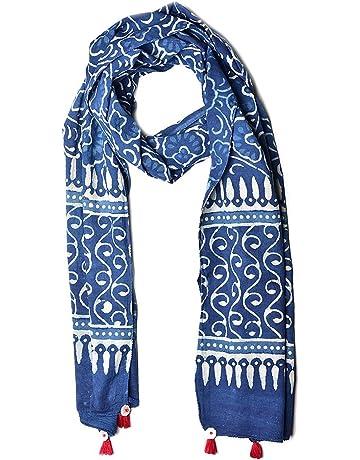 9cc96fe74 Uravi Women's Cotton Hand Block Printed Stole (Stole_4,Indigo,Free SIze)
