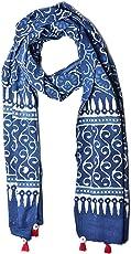 Uravi Women's Pure Cotton Hand Block Printed Stole (Stole_4,Indigo,Free SIze)