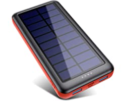 iPosible Solar Power Bank 26800mAh Solar Charger [Type-C & Micro USB Input] Fast Charging Portable Charger External Battery P