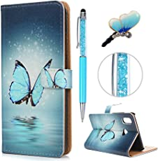 Huawei P20 Lite Hülle, Filp PU Leder Case Tasche : Gemalt Book Type Handyhülle mit Hart PC Innere Schutzhülle in Blauer Schmetterling + Stylus Pen + Anti Dust Plug