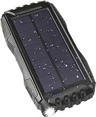 WBPINE Solar Ladegerät Powerbank 25000mAh Outdoor PowerBank Wasserdicht mit 2 USB Ports Solarzellen für iPhone, iPad, Samsung, Android und Andere Smartphones usw Tablet, MP3 Player(Schwarz)