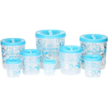 Princeware Twister Plastic Package Container Set, 8-Pieces, Blue
