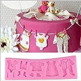 Doitsa Silikonform Multifunktions Baby Kleider Schuhe Silikon Form für Kuchen Fondant/Schokolade/Zuckerverzierung/Zucker Handwerk Gießform