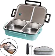 WORTHBUY Bento Lunch Box for Kids, 2 Compartments Stainless Steel Square Lunch Box with Portable Cutlery, Portion Control Foo