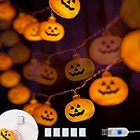 KPCB Halloween Lichterkette, Halloween Kürbis Deko Lichterkette, Kürbis Lichterkette für Halloween, 5.4m 40 LEDs Kürbis…