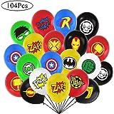 104 pezzi Palloncini supereroi Palloncini in lattice per bambini Festa di compleanno Bomboniere Decorazioni 16 Simbolo Perfetto per la tua festa a tema (12 pollici)