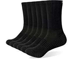 Mens Socks 6 Pairs Wicking Breathable Cushion Comfortable Casual Crew Socks Outdoor Multipack Performance Hiking Trekking Wal