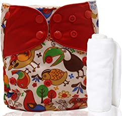 Motherly Reusable Baby Diaper with Insert Nappy Washable Cloth Diapers Nappies for Babies- Dual Color Style (Pattern-D03)