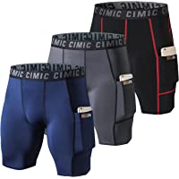 frueo 3 Pack Mens Compression Shorts Dry Fit Running Shorts for Men with Phone Pocket Activewear Shorts for Training…