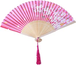 Vosarea Chinese Style Bamboo Silk Fan Cherry Folding Fan Dance Hand Fans
