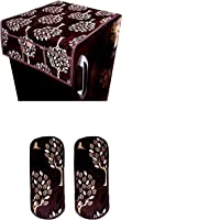 KANUSHI Industries® Floral (Tree) Design 1 Fridge Cover for Top with 6 Utility Pockets (Brown Color) + 2 Handles Covers