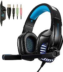 Gaming Headset, TedGem Gaming Headset PS4, Gaming Headset PC Xbox One Kopfhörer mit Noise Cancelling Mikrofon, LED-Licht, Bass Surround Sound, Kopfhörer für PC Laptop Tablet Mac Smartphone (Blau)