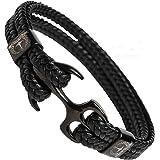 Tom Miller® Bracelet Ancre Homme Noir en Cuir de haute qualité Cadeau pour Hommes