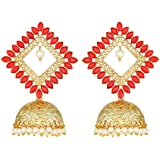 Peora Traditional Brass & Gold-plated and Kundan Jhumki Earrings for Women & Girls