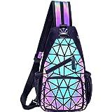 FZChenrry Geometrische Umhängetasche Geometrischer Rucksack Damen Leuchtender Holographic Rucksäcke Reflektierend Festival Ta