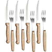 PEARL Gabeln: 8-teiliges Steakbesteck mit Buchenholzgriffen für 4 Personen (Steak-Besteck)