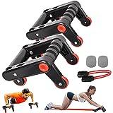 MEEQIAO 3-i-1 magträningsrulleset med push-up stång, multifunktionell fitnessutrustning AB-roller automatisk återstudsningsst