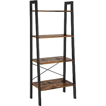 VASAGLE Ladder Shelf 4 Tier Bookcase Storage Unit For Living Room Bedroom Kitchen Vintage Black LLS44X