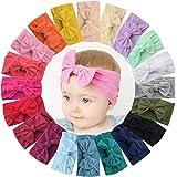 20 لوناً من اربطة راس للفتيات الصغيرات من ويلينج تي واربطة شعر من النايلون الناعم المرن مقاس 4.5 انش، اكسسوارات شعر للاطفال ح