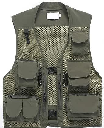 Freiesoldaten Men's Multi Pocket Vest Outdoor Fishing Camping Outwear Breathable Mesh Casual Waistcoat