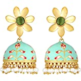 Peora 18K Gold Plated Traditional Jewellery Enamel Meenakari Work Beads Jhumki Jhumka Earrings for Women