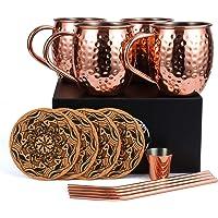 Eligara Tasses en cuivre pour Le Cocktail des mulets de Moscou, 4 Tasses en cuivre Artisanales pour Le Cocktail des…