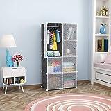Monash 8 Door Plastic Sheet Wardrobe Transparent Black Storage Rack Closest Organizer for Clothes Kids Living Room…