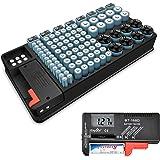 GCSJ Testeur de batterie et organisateur de stockage de batterie, 110 cas de grandes, Testeur de Piles Universel Testeur, AAA AA de Batterie Testeur de 1.5V 9V, Piles Bouton Testeur