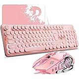 Tastatur Maus Sets Gaming Tastatur LED Beleuchtete Gaming Tastatur mit QWERTY Layout 104-Tasten, 2400 dpi einstellbar, 6 Tast