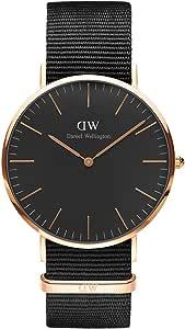Daniel Wellington Classic Cornwall, orologio da uomo, colore nero/oro rosa, 40 mm, NATO, per uomo