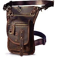 Le'aokuu Herren Echtes Leder Tasche Hüfttasche Beinbeutel Kleines Haken Tasche Messenger Bag 2141 (2141 A Braun)