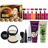 Adbeni Super Combo Makeup Set 1PC Facial Kit, 6Pc Lipstick, 1Pc CC Cream, 1Pc Compact Powder, 1Pc Face Wash, 1Pc Eyeliner, 1P