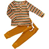 Newborn Baby Boy Girl Ribbed Outfit Stripes T-Shirt Top Solid Pants Autumn Clothing Set