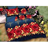 Home Stylish Premium Cotton Printed 3D 160 TC Double Bedsheet with 2 Pillow Cover