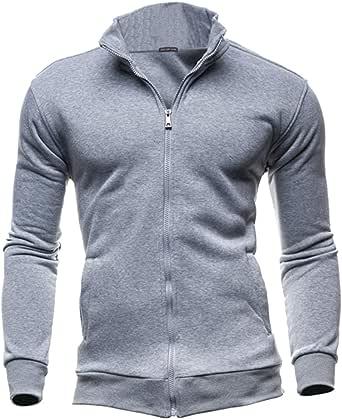 VANVENE Mens Casual Hoodie Stand Collar Sweatshirt - Breathable Hooded Lightweight Work Out Jacket