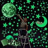 Yolistar Autocollants Lumineux 472 Pcs,phosphorescentes Stickers,Lune Étoiles Lumineuses Stickers Muraux Décoration de Plafon