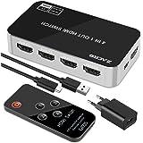 Zacro Switch HDMI 4k,Splitter HDMI 4 in 1 out,Supporta 4K 3D 1080P HD,Per PS4 Xbox Sky Box Fire Stick/Lettore DVD/Proiettore