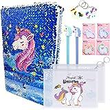 Unicornio Piezas Set de Papelería, Unicorn Notebook y Juego de Bolígrafos Para Niños, Diario de Lentejuelas, Cuaderno Mágico