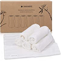 Navaris Bamboo Wash Cloths (Pack of 6) - 25 x 25 cm Soft Face Cloth Flannel Towel Set for Washing Face, Makeup Removal, Body, Babies, Kids - White