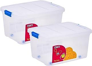 uberlyfe Multi-Purpose Toy Storage Plastic Box (25L, Transparent Combo) - Pack of 2