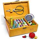 Boîte à couture avec kit d'accessoires - Boîte de rangement vintage en bois - Pour grand-mère, fille, femme - Cadeau d'intéri