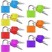 7 Stück Vorhängeschloss mit Schlüssel Bunt Kofferschloss Set Klein Mini Taschen Gepäckschloss Sperren 7 Farben