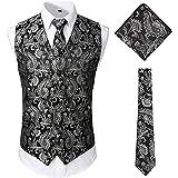 JOGAL Men's 3pc Classic Paisley Floral Jacquard Waistcoat&Necktie and Pocket Square Vest Set for Suit or Tuxedo