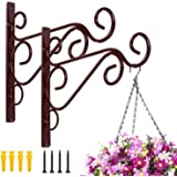 MFS Craft World Iron Wall Mount Hanging Plant Brackets, for Indoor Outdoor Planter Bird Feeder Lanterns Wind Chimes with Scre