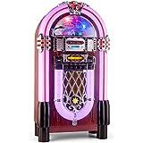 auna Graceland XXL BT • Jukebox • Retro Musikbox • Bluetooth • MP3-fähiger CD-Player • USB-Port • SD-Karten Slot • AUX-Eingang • UKW Radio • 2-Band Equalizer • LED-Beleuchtung • violett